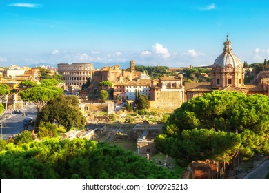 Rome, Italy city skyline with landmarks of the Ancient Rome ; Colosseum and Roman Forum, the famous travel destination of Italy.