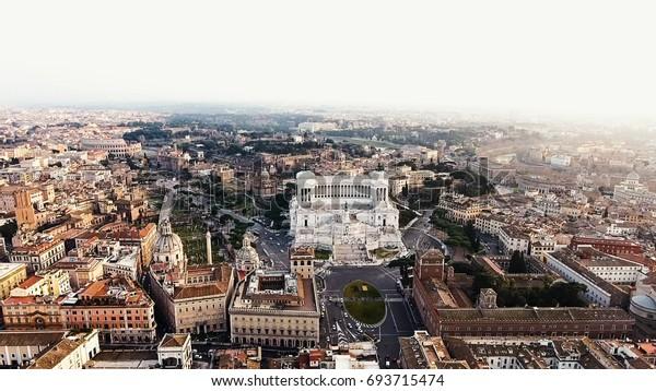 Rome Italy Cityscape Aerial View Photo of Piazza Venezia And Colosseum