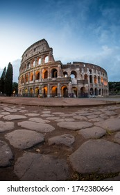 Rome, Italy Collosseum at dawn e roman stones