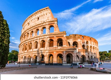 Rome, Italy. The Colosseum or Coliseum at sunset.