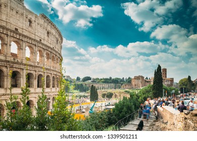 Rome, Italy. Colosseum. Flavian Amphitheatre. Famous World Landmark UNESCO.