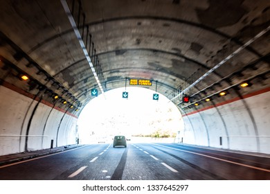 Rome, Italy day and highway road street with tunnel on modern autostrade journey way lanes