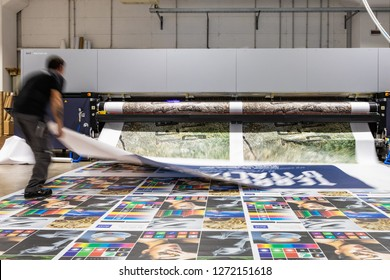 Rome, Italy, Dec 2018. Productivity review, computer aided printing process, advanced technology in the press and publishing, robotized plotting machines for mass production and big format prints.