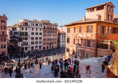 Rome, Italy - Dec 25, 2017 -View on the city from spanish stairs in Rome