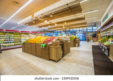 ROME, ITALY. December 05, 2018: Fruit and vegetable department, fresh fruit crates freshly harvested inside a MA supermarket in Italy in Rome.