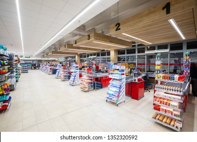 Rome, Italy. December 05, 2018: A series of cash registers, cash desk, in a large supermarket (M.A. Supermarket) of new opening in Rome in Italy. Interior without people.