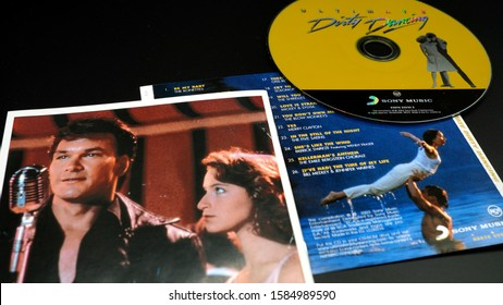 Rome, Italy - December 06, 2019: CD and artwork of the Ost of DIRTY DANCING. 1987 film directed by Emile Ardolino and starring Patrick Swayze and Jennifer Gray, Oscar for best song in 1988