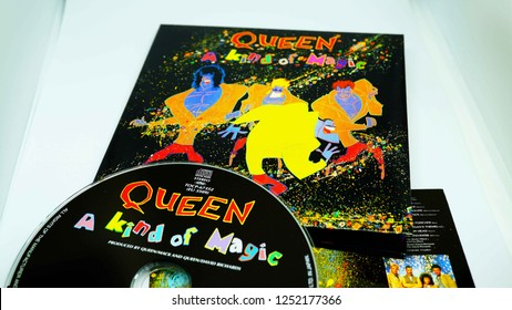 Rome, Italy: december 07, 2018:  Detail of the Japanese edition of the twelfth studio album of the British rock music group Queen, A kind of magic mini replica of the original 1986 LP