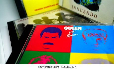 Rome, Italy: december 07, 2018: CD albums of the famous English group QUEEN. selective focus on album HOT SPACE