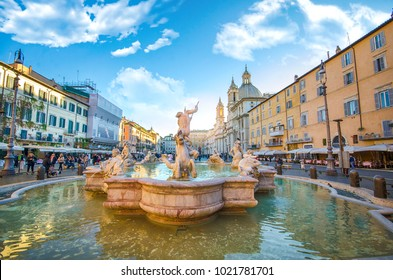 Rome, Italy - December 08, 2018: Fontana del Nettuno (Fountain of Neptune) and Fountain of the Four Rivers with an Egyptian obelisk and Sant Agnese Church in Piazza Navona.  top sightseeing