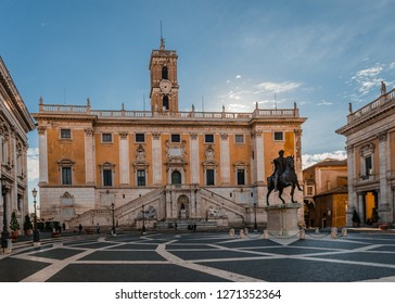 Rome / Italy - December 1 2018: View of the Piazza del Campidoglio, on the top of Capitoline Hill, with the façade of Palazzo Senatorio.