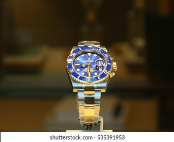 ROME, ITALY - DECEMBER 10, 2016: Rolex Luxury Watches For Sale In Shop Window Display.