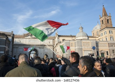 Rome, Italy - December 18, 2013: People rally in Piazza del Popolo in Rome in favor of the Italian people and against the government.