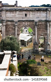 ROME, ITALY - DECEMBER 19: marble Arch of Septimius Severus on Capitoline Hill in Rome, Italy on December 19, 2010. Triumphal arch dedicated in AD 203 to commemorate the Parthian victories