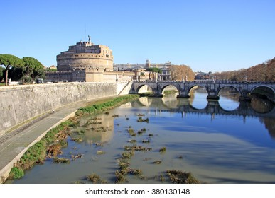 ROME, ITALY - DECEMBER 20, 2012: Castel Sant Angelo and Tiber River