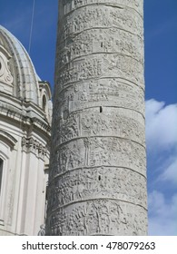 ROME, ITALY - DECEMBER 2010: Colonna Traiana (Trajan's Column), triumphal column in Foro Traiano (Trajan's Forum), with a spiral bas relief commemorating emperor Trajan's victory in the Dacian Wars.