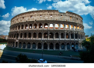 ROME, ITALY - DECEMBER 2011: Colosseum in Rome, Italy. Ancient Roman Colosseum is one of the main tourist attractions in Europe. People visit the famous Colosseum in Roma center.