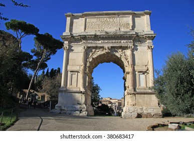 ROME, ITALY - DECEMBER 21, 2012: Arch of Titus on Roman Forum