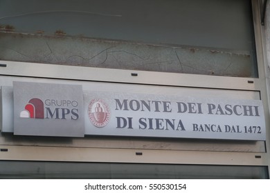 Rome, Italy - December 22, 2016: local branch of the Italian bank Monte dei Paschi di Siena. MPS SpA is the oldest surviving bank in the world and the third largest Italian commercial and retail bank