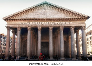 ROME, ITALY - December 25, 2012 - View of the Pantheon during a winter day. Pantheon was built as a temple of every god.