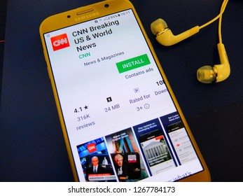 Rome, Italy. December 25, 2018 - CNN breaking US and world news application on smartphone screen. CNN (Cable News Network) is american news network, provides 24-hour news coverage.