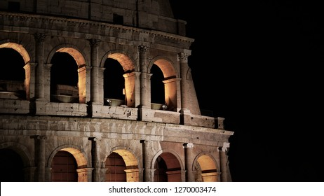 ROME, ITALY - DECEMBER 25, 2018: Coloseum Detail with black sky