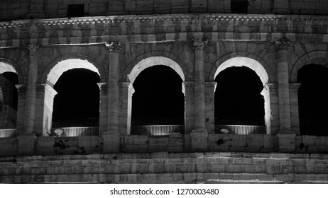 ROME, ITALY - DECEMBER 25, 2018: Coloseum Three windows detail