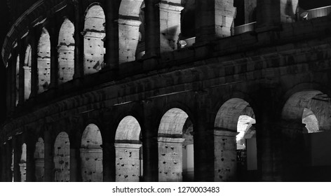 ROME, ITALY - DECEMBER 25, 2018: Coloseum Detail of two arches rows