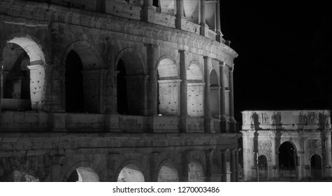 ROME, ITALY - DECEMBER 25, 2018: Coloseum with Arch of Constantine in the background