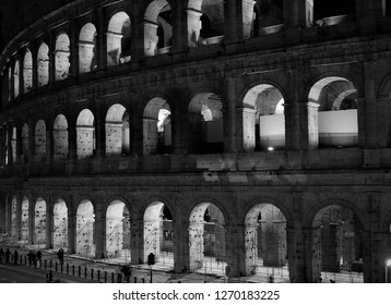 ROME, ITALY - DECEMBER 25, 2018: Coloseum (Night) [Black&White]