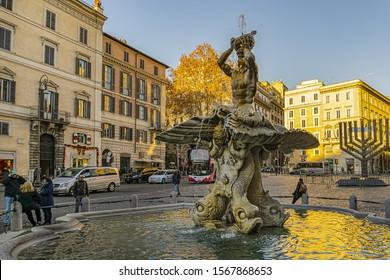 ROME, ITALY - DECEMBER 28, 2016: Triton Fountain (Fontana del Tritone) in the Piazza Barberini, a masterpiece of Baroque sculpture in the historic center of Rome.