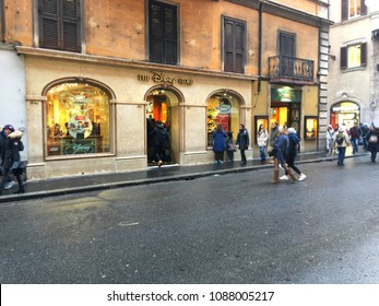 Rome, Italy - December 28, 2017: The Disney Store in Rome city and the visitors.