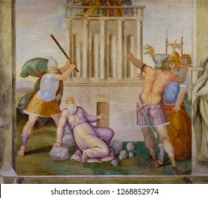 Rome, Italy - December 28, 2018: Close-up of the Basilica of Santi Nereo and Achilleo in Rome, famous for its XVI century frescos with violent martyrdom scenes.
