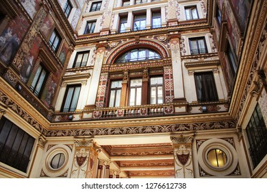 ROME, ITALY -DECEMBER 28, 2018: The palace, built in 1888 in art deco and renovated in the late seventies, is known as Sciarra gallery .