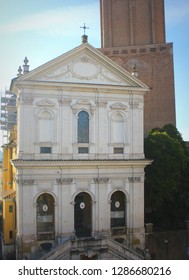 Rome, Italy - December 29, 2018: Tower of the Militia and Santa Caterina a Magnanapoli church.
