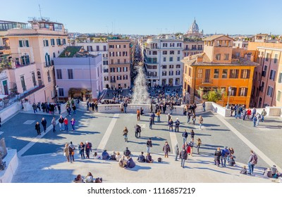 ROME, ITALY - DECEMBER 29: Piazza di Spagna on December 29, 2016 in Rome. Piazza di Spagna, at the bottom of the Spanish Steps, is one of the most famous squares in Rome.