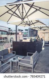 ROME, ITALY - DECEMBER 30, 2017: UP/sunset bar of chef Di Giacinto, on top roof of the new La Rinascente shopping mall in Via del Tritone.