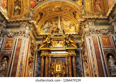 Rome, Italy - December 30, 2018: Basilica di Santa Maria Maggiore in Rome, Italy. Santa Maria Maggiore, is a Papal major basilica and the largest Catholic Marian church in Rome, Italy.