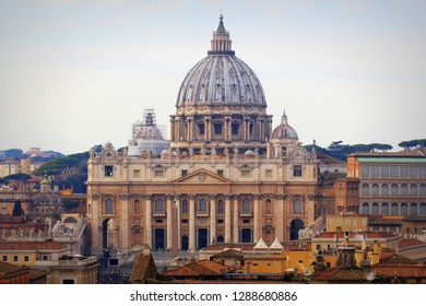Rome, Italy - December 30, 2018: Panorama of Rome and view at St. Peter's Basilica (Vatican) from Angel Castle (Castel Sant'Angelo).