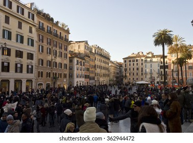 ROME, ITALY - DECEMBER 31 2014: Crowd of People in Piazza di Spagna square in Rome, at day time