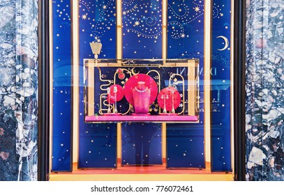 ROME, ITALY - DECEMBER 8, 2017: Christmas shop window display of Bvlgari, Italian jewelry and luxury goods brand ir Rome, Italy