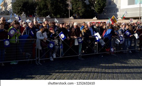 Rome, Italy - December 8th 2018: A large crowd listens to Matteo Salvini's speech in Piazza del popolo.