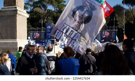Rome, Italy - December 8th 2018: A large crowd listens to Matteo Salvini's speech in piazza del popolo. Matteo Salvini is Italy's deputy prime minister and minister of internal affairs