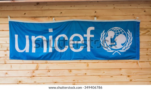 ROME, Italy - December 9, 2015: Banner of Unicef hanging on wood