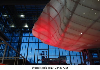 "ROME, ITALY -  DECEMBER 9, 2017: Rome Book Fair under ""The Cloud""a distinctive architectural element of the Convention Center located in the business district of EUR"