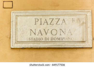ROME, ITALY, E.U - SEPTEMBER 25, 2015:  Stone plaque marking the Piazza Navona