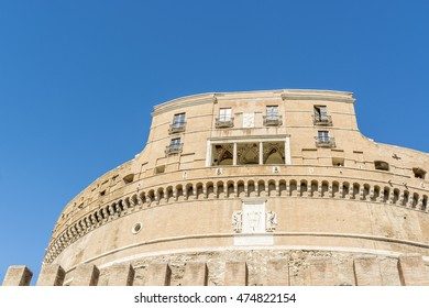 ROME, ITALY, E.U - SEPTEMBER 25, 2015:Detail of the facade of Castel Santangelo