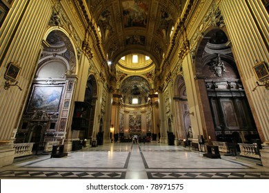 Rome, Italy - famous basilica Sant Andrea Della Valle. Church interior.