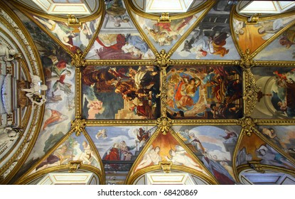 Rome, Italy. Famous painting in the ceiling of Santa Maria in Trivio church.