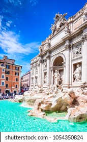 Rome, Italy. Famous Trevi Fountain and Palazzo Poli (Italian: Fontana di Trevi) in italian city of Roma.